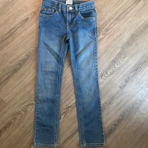 Size 8 skinny stretch jeans with adjustable waste
